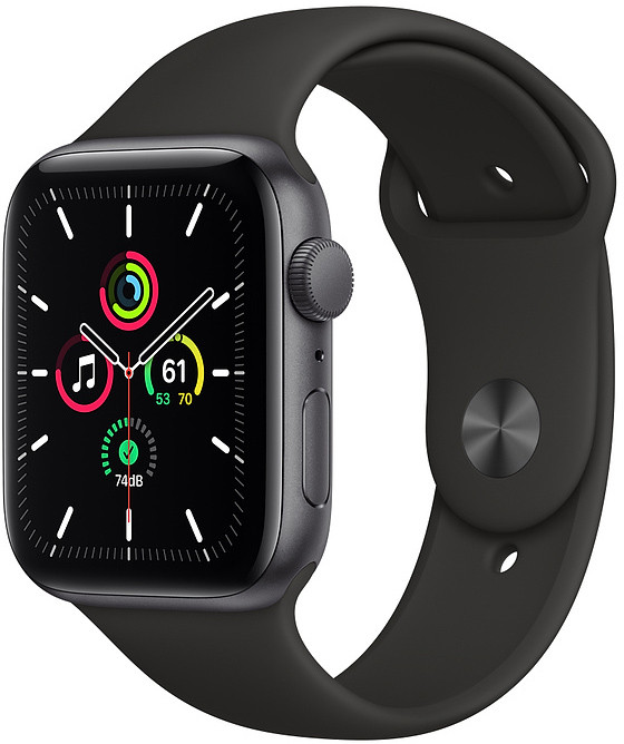 Apple Watch SE GPS 44mm Sport Band, space gray/bl..