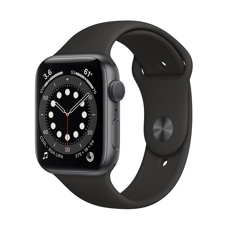 Apple Watch 6 GPS 44mm Sport Band, space gray/black