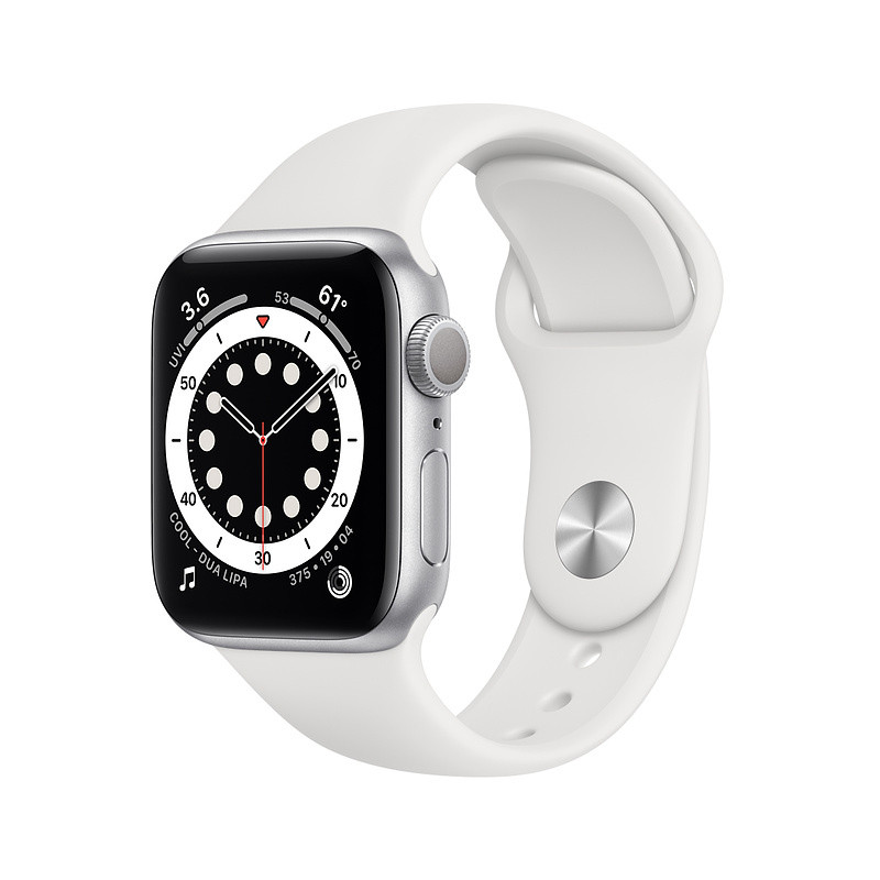 Apple Watch 6 GPS 40mm Sport Band, silver/white