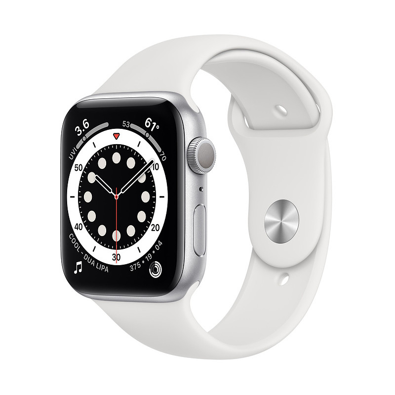 Apple Watch 6 GPS 44mm Sport Band, silver/white