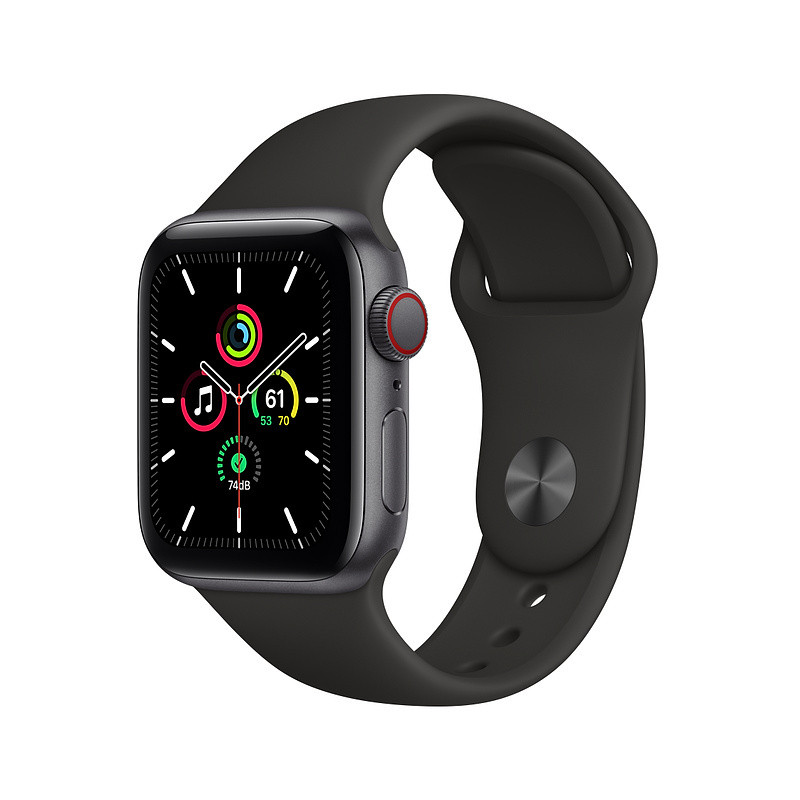 Apple Watch SE GPS + Cellular 40mm Sport Band, space gray/black (MYEK2EL/A)