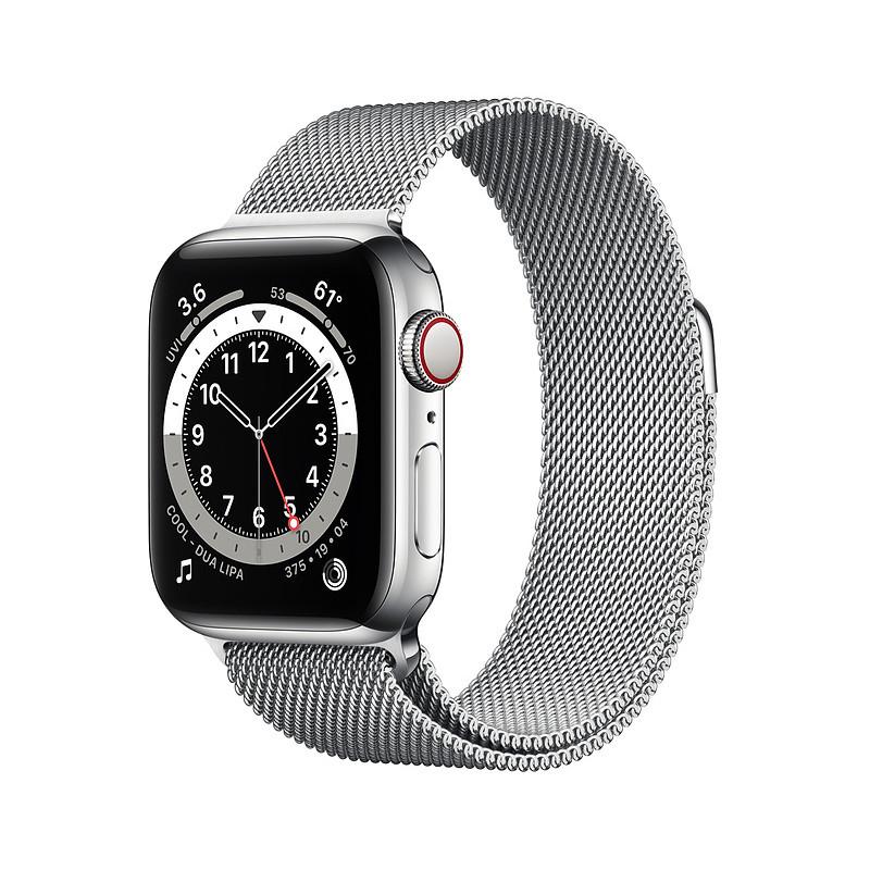 Apple Watch 6 GPS + Cellular 40mm Stainless Steel Milanese Loop, silver (M06U3EL/A)