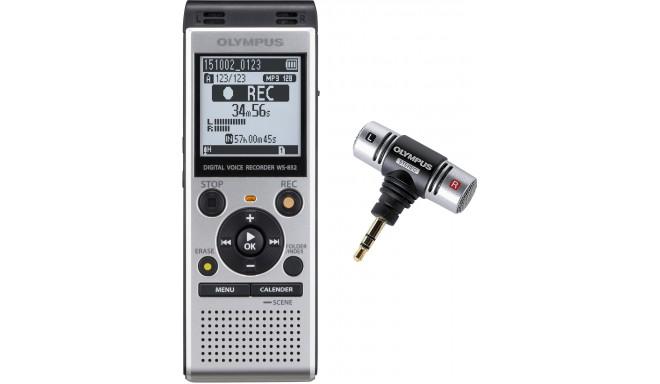 Olympus diktofon WS-852 + mikrofon, hõbedane