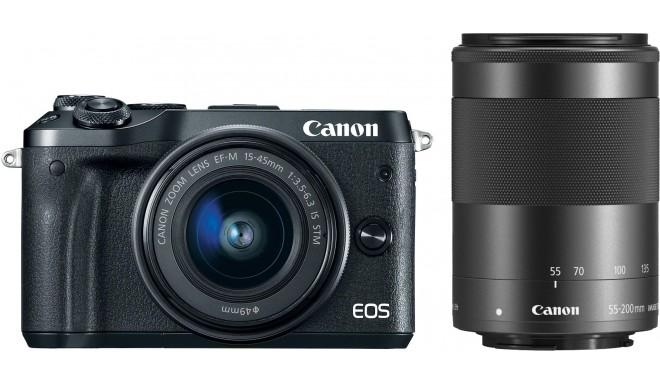 Canon EOS M6 + EF-M 15-45 мм + 55-200 мм IS STM, черный