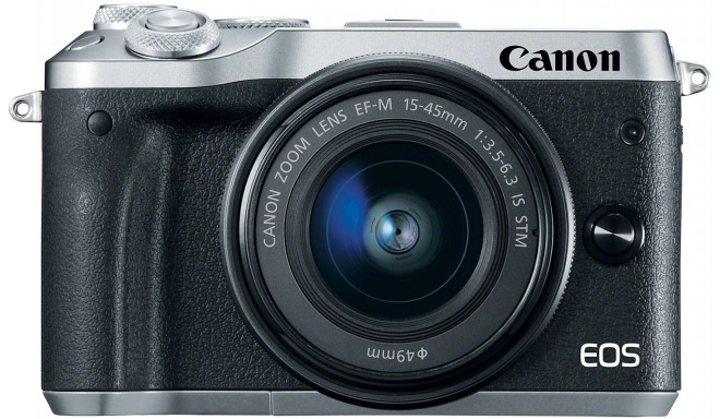 Canon EOS M6 + EF-M 15-45mm IS STM, sudrabots