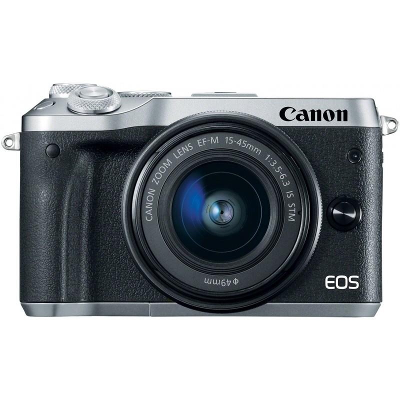 Canon EOS M6 + EF-M 15-45 мм IS STM, серебристый