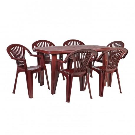 ad7b6d3f186 Aiamööbli komplekt SORRENTO laud ja 6 tooli (100303), 140x80xH72cm, materjal:  plastik, värvus: bordo
