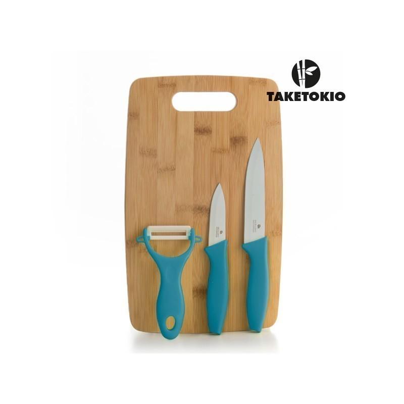 27cf0e5bff6 Keraamilised Noad Bambusest Lõikelauaga TakeTokio (4 osaline) (Pistaatsia  roheline)