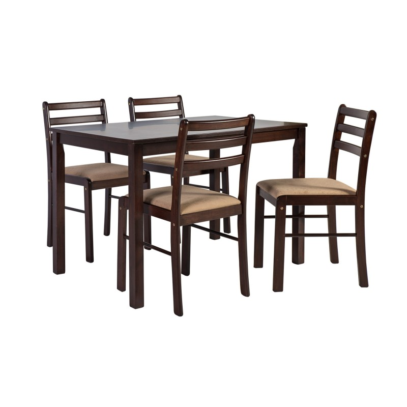 Dining Set VINCENT With 4 Chairs, 110x72xH75cm, Wood: Rubber Wood, Color