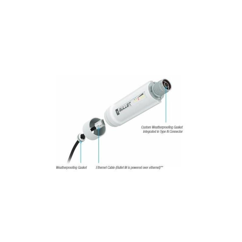 Ubiquiti Bullet M2-HP 2 4GHz Outdoor Radio, 802 11b/g/n, 28dBm, PoE, N-type  Male