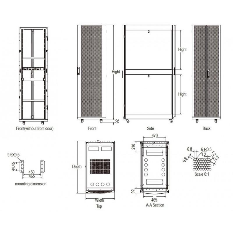 Linkbasic Rack Cabinet 19'' 42U 600x1100mm (perforated