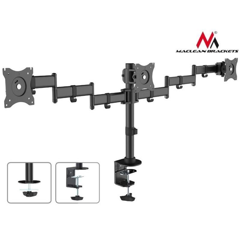 Maclean Mc 691 Triple Desk Mount Monitor Arm 360 Adjule Bracket 13 27