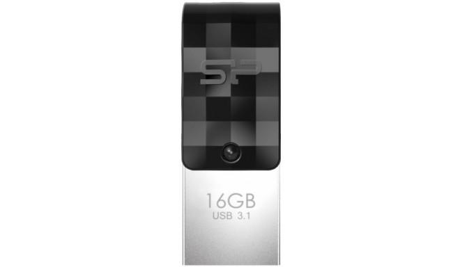 Silicon Power флешка 16GB Mobile C31 USB-C, черный