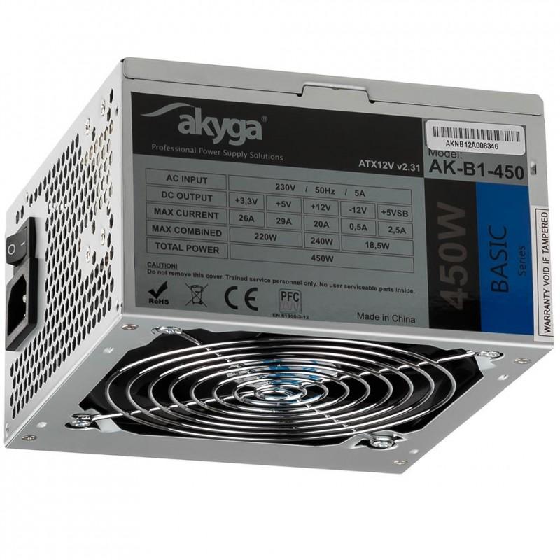 Akyga power supply unit Basic ATX 450W AK-B1-450 Fan 12cm P4 3xSATA ...