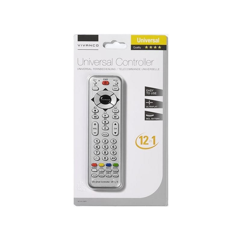 Vivanco universal remote 12in1, silver (34874)