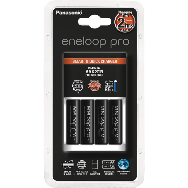 Panasonic eneloop laadija BQ-CC16 + 4x2450