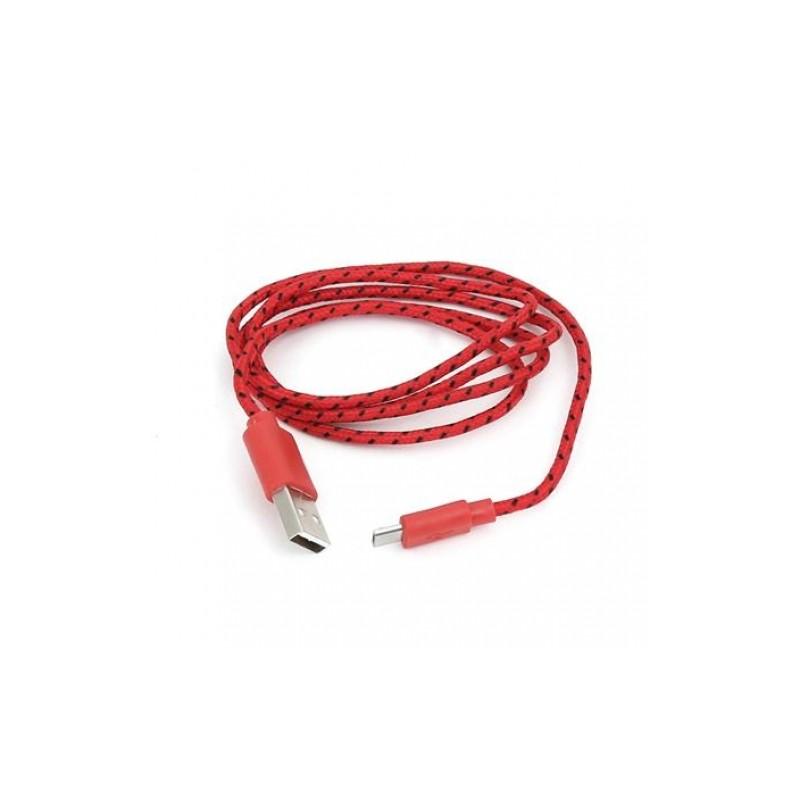Omega kaabel microUSB 1m punutud, punane (42321)