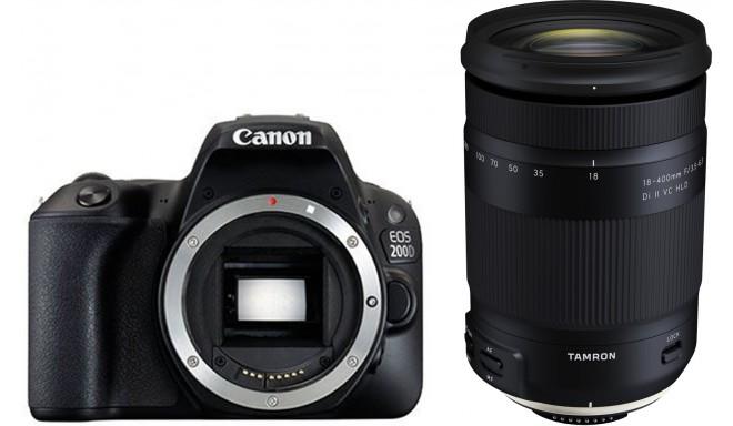 Canon EOS 200D + Tamron 18-400mm, melns