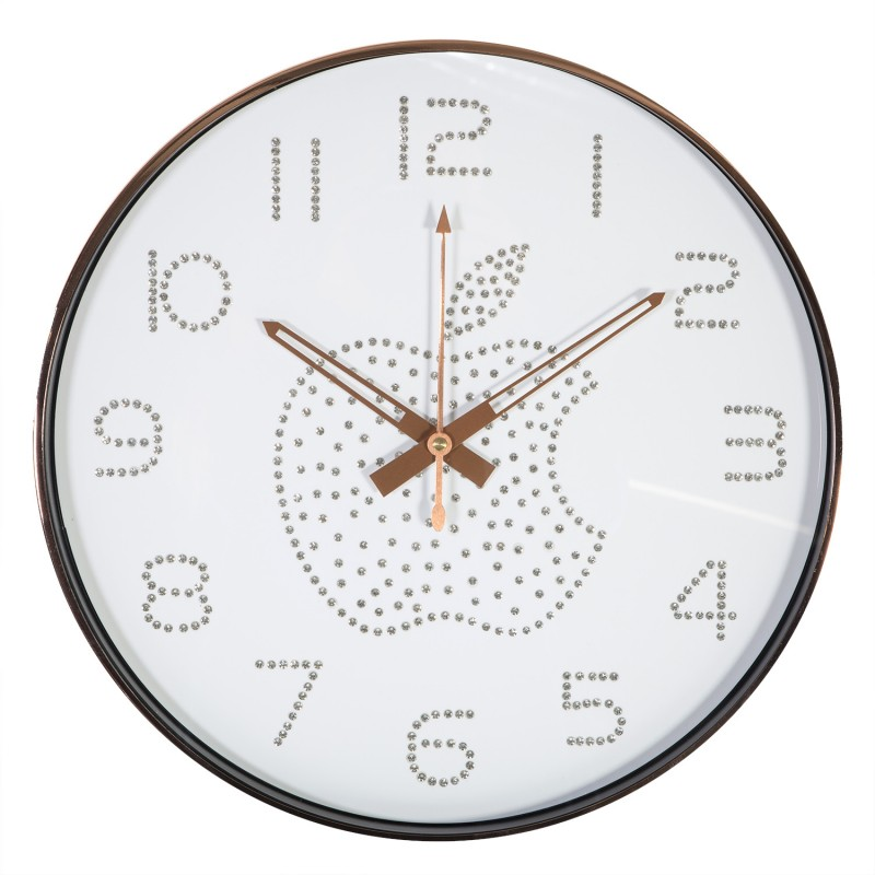 Wall Clock Copper D40cm Copper Frame White Backround Apple Wall