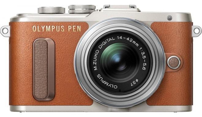 Olympus PEN Lite E-PL8 + 14-42mm II R Kit, pruun/hõbedane