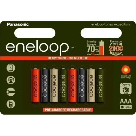 Panasonic eneloop rechargeable battery AAA 750 8B Expedition