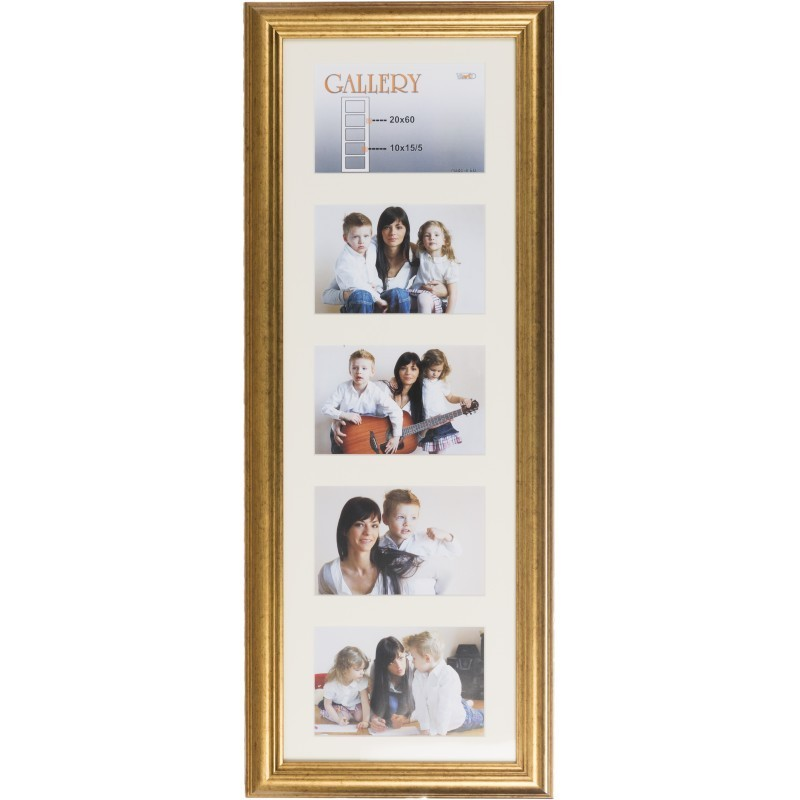 Photo frame Ema Gallery 20x60/5/10x15, gold (VF3967) - Photo frames ...
