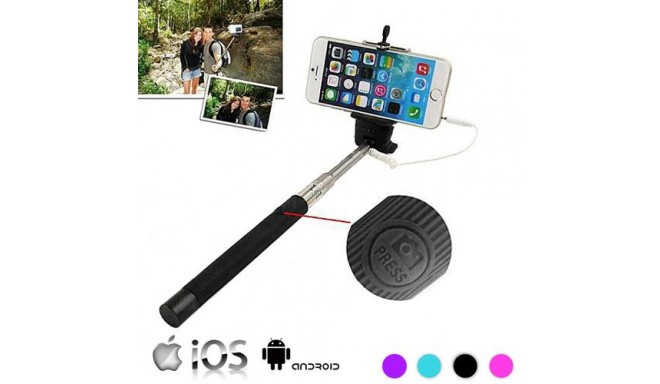 selfie stick with cable purple handheld tripods photopoint. Black Bedroom Furniture Sets. Home Design Ideas