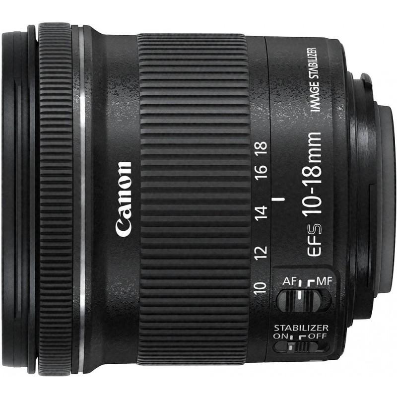 Canon EF-S 10-18mm f/4.5-5.6 IS STM objektiiv + EW-73C päikesevarjuk + puhastuslapp