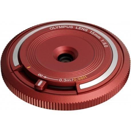 Olympus kerekork-objektiiv 15mm f/8.0, punane