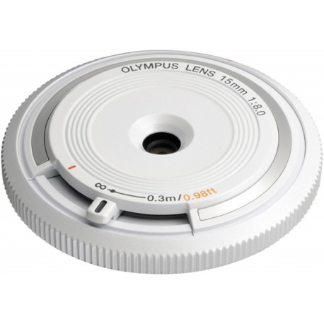 Olympus body cap lens 15mm f/8.0, white