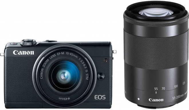 Canon EOS M100 + EF-M 15-45mm + 55-200mm IS STM, melns