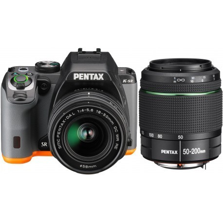 Pentax K-S2 + 18-50mm WR + 50-200mm WR Kit, must/oranž