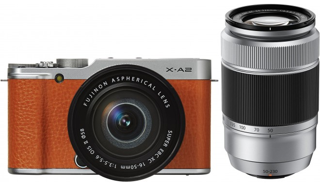 Fujifilm X-A2 + 16-50мм + 50-230мм Kit, коричневый