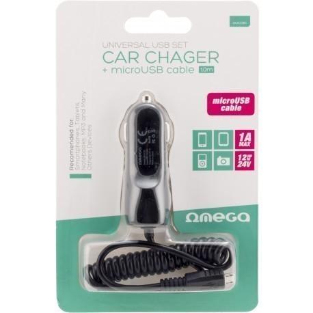 Omega auto vooluadapter USB 1000mA + kaabel, must (42671)