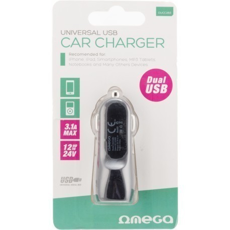 Omega auto vooluadapter 2×USB 3100mA, must (42669)