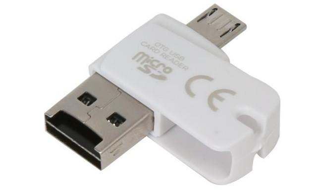 Platinet kaardilugeja microSDHC OTG, valge (42860)