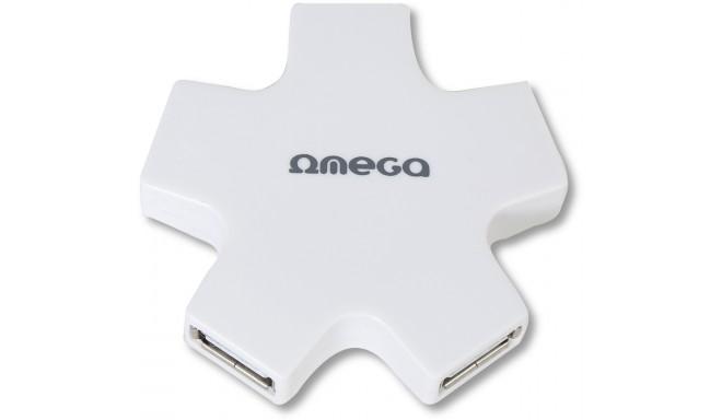 Omega USB 2.0 hub 4-port, valge (OUH24SW)