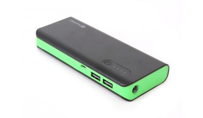 Platinet Power Bank 8000mAh + kabatas lukturis, melns/zaļš